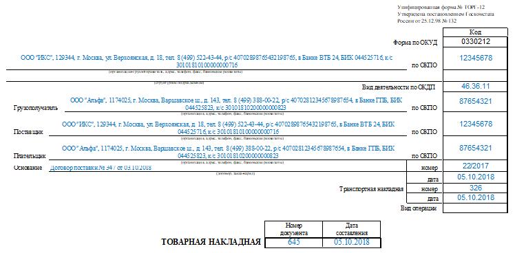 Возвратная накладная поставщику: образец и бланк ТОРГ-12